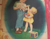 1946 children s press inc Dictionary antique colorful illustration large  paper book