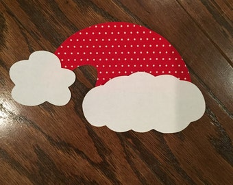 Santa Hat Iron On Applique, You choose fabric.