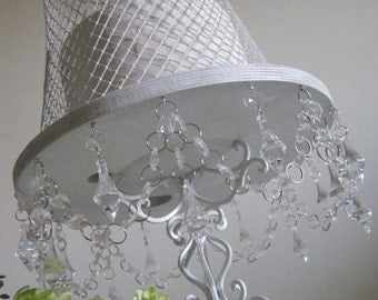 "Shabby White Chandelier Cake Stand and Cloche 14"" MADE TO ORDER"