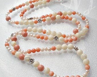 Long necklace fresh water pearls, shellbeads, Coral.
