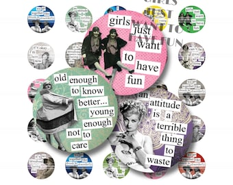 Hotsy Totsy Quotes 1 Inch Circle Digital Downloads Tiles Digital Collage Sheet Images Words Sayings Typography
