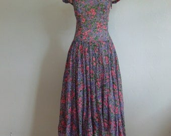 50s SUMMER FLORAL full skirt dress size medium