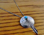 Vintage Sterling Silver and Turquoise Concho Pendant