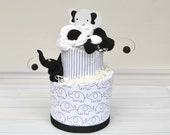 Elephant Diaper Cake, Black and White Classic Baby Shower Decoration, New Baby Gift, Elephant Theme Baby Shower