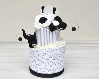 White and Black Baby Shower, Elephant Baby Shower, Elephant Diaper Cake, Modern Baby Shower Decor, Black Baby Bedding, Neutral Baby Gift