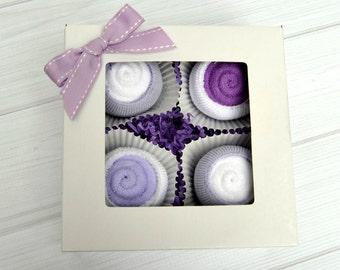Girl's Baby Sock Cupcakes, Washcloth Cupcakes, Unique Gift Set, Baby Shower Gift, Newborn Gift, Baby Cupcake, Baby Girl Socks