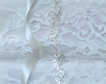 Silver Leaves Crystal Rhinestone Bridal Sash,Wedding sash,Bridal Accessories,Bridal Belt,Style # 6