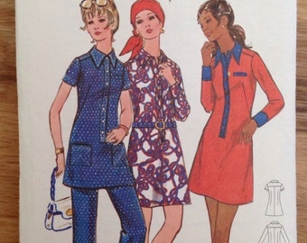 Vintage 70's Butterick 5937 Mod Dress, Tunic and Pants