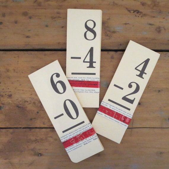 25 vintage flash cards, subtraction flashcards, math flash cards, mathematics flash cards, school flash cards, set of flash cards, education
