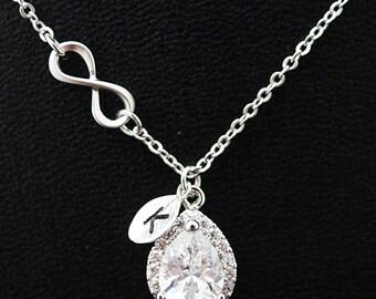 Personalized Bridal Necklace Wedding Bridesmaid Necklace Infinity Cubic Zirconia necklace, infinity necklace, bridesmaid gift (P-0021)