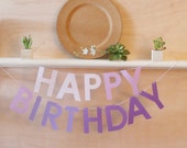 """Happy Birthday Banner - Purple Ombre - Color Blocked - 5"""" Letters - Birthday Party Decoration"""