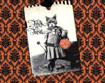 Halloween, Trick or Treat, Halloween Cat, Treat Tags, Pumpkin Cat, Halloween Tags