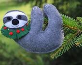 Handmade Felt Friendly Christmas  Sloth Ornament