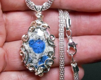 K2-Blue granite, 2 sided drop cabochon pendant, hand wrapped silver filigree setting