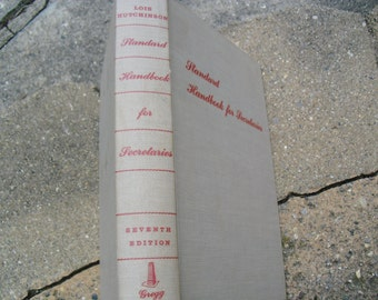 Vintage Book Standard Handbook for Secretaries by Lois Hutchinson Vintage Gregg Secretarial Book