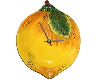Rustic French Country Lemon Plate Wall Clock, Kitchen Wall Clock, Earthenware Plate Clock, Lemon Clock, Home Decor, Wall Decor - 1983