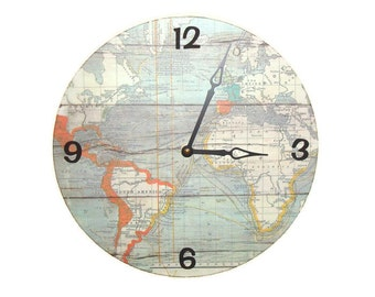 SILENT World Wall Clock - Globe Wall Clock - Map Wall Decor - Unique Wall Clock - Wall Decoration - Gift for Her - Gift for Him - 2166