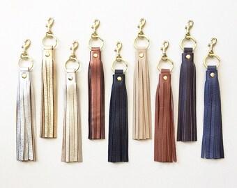 Leather Tassel KEYRING Keychain, Tassel Purse Charm, Leather Key Fob, Metallic Leather Handbag Charm, Tassel Keychain Charm, Gift for Her