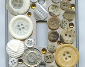 Steampunk Light Switch Cover With Vintage Beige and White Buttons