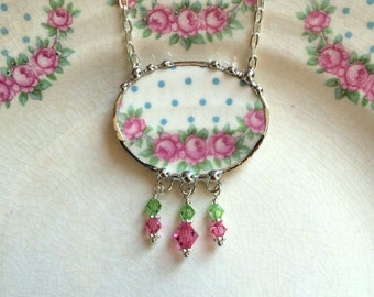 Broken China Jewelry necklace antique pink roses and blue polka dots Swarovski crystal drops