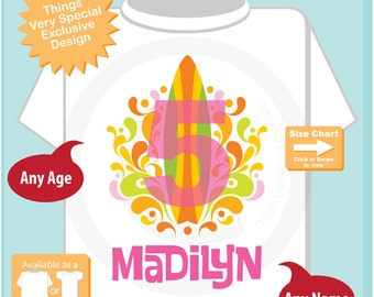 Girl's Fifth Birthday Surfing Big number 5 Shirt Personalized Birthday Girl Theme Tee Shirt or Onesie (07232015i)
