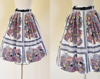 50s Skirt - Vintage 1950s Skirt - Novelty Print Native American Weaving Cotton Full Skirt S - Dream Weaver Skirt