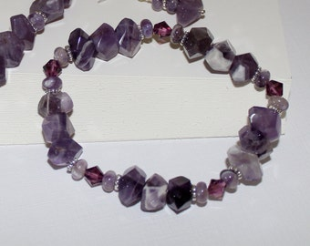 Dog Tooth Amethyst and Swarovski Crystal Stretch Bracelet-Natural Gemstone Nuggets-February Birthstone-Birth Month-Purple-Chevron-Sterling