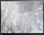 Silver Lining - 40 x 30 - Abstract Acrylic Painting - Gray Contemporary Minimalist Wall Art - Urban