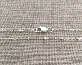 "18"" Satellite Chain Necklace, Dew Drop Necklace Silver, Sterling Silver Satellite Necklace, Necklaces for Women, Dainty silver Necklace"