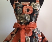 Awesome Halloween Fabric in a Two Tiered, Twirly Full Apron