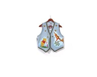 BTS SALE Vintage 90s Stonewashed Blue Denim WINNIE the Pooh Disney Vest m l