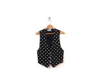 BTS SALE Vintage 80s Black Polka Dot Button Up Vest women small medium boho preppy indie hipster fashionista
