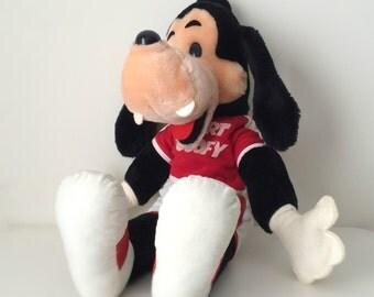 1980s Walt Disney Goofy Stuffed Animal, Sport Goofy, Disney Plush Doll with Red and White Sneakers & Sporting Attire