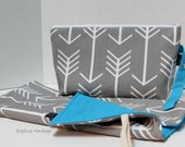 Zippered Diaper Clutch and Changing Mat Set - In Grey Arrows with Turquoise