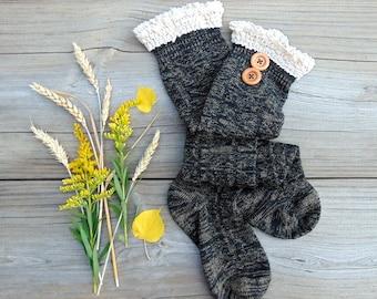 Black Boot Socks, Boot Socks, Knee Socks, Lace Socks with Buttons, Knit Socks, Black Socks, Winter Socks, Long Socks, Knee Socks