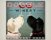 LABRADOODLE Double Doodle Wine Cellars Personalized FREE GOLDENDOODLE Doodle Brewing Company canvas Signed
