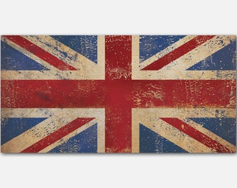 Union Jack Union Flag United Kingdom Flag 1.5 inch Stretched Canvas Wall Art  Ready To Hang