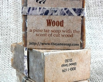 Small Wood Soap -  Pine Tar Soap with Kaolin Clay and Essential Oils - Rustic Soap - Vegan Friendly!