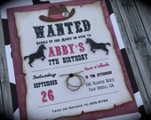 Cowgirl WANTED Invitation