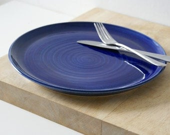Large serving platter with coupe style edge - glazed in ocean blue