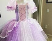 RESERVED Rapunzel inspired tutu princess dress 3t tangled inspired FULL LENGTH