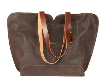 Brown Leather tote, big leather bag, Women bag , The perfect all day tote bag by Ayelet Shachar