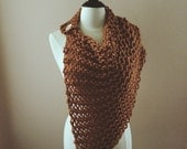 the northern shawl // poncho // scarf with wooden button // chunky knit scarf // butterscotch