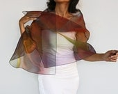 Organza Stole Scarf Shoulder Wrap Multicolored Iridescent Costume Dress Cover up Unique Item, OOAK. Handmade.