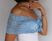 Bridal Dress Cover up, Lace Shoulder Wrap, Baby Blue Lace Shrug, Bridesmaids Gift Shawl