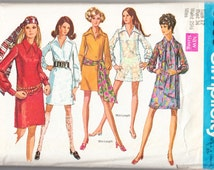 Vintage 1969 Simplicity 8333 Sewing Pattern Misses' Dress in Two Lengths and Scarf Size 12 Bust 34