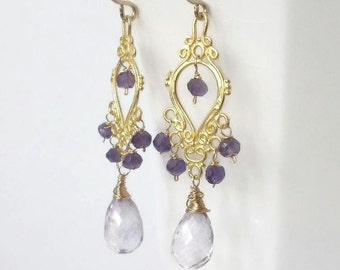 Amethyst Earrings, Gold Chandelier Earrings, Amethyst Jewelry, Amethyst Chandelier Earrings, SALE