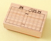 """Japanese Cat Wooden Rubber Stamp - Cat Beside Window """"Read"""" - Pottering Cat"""