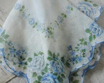 blue rose sheer vintage handkerchief