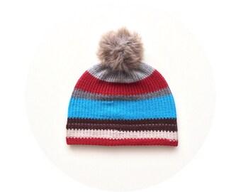Bobble ski hat, colourful striped knit beanie, winter pom pom beanie FREE SHIPPING
